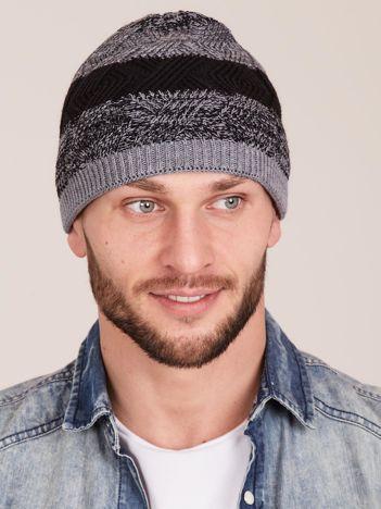 Szara męska czapka zimowa