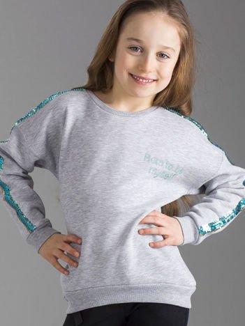 Szara ocieplana bluza dziewczęca z cekinami na rękawach
