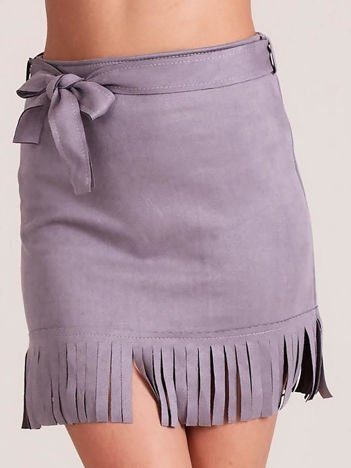 Szara spódnica z frędzlami