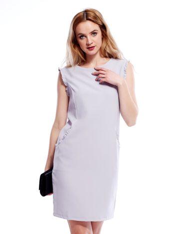 7d3e7eda1a Szara sukienka z drobnymi falbankami