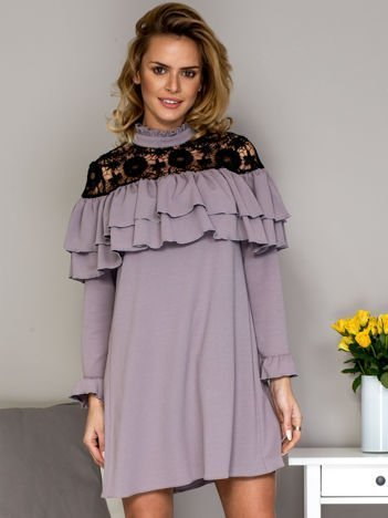 Szara sukienka z koronkową wstawką