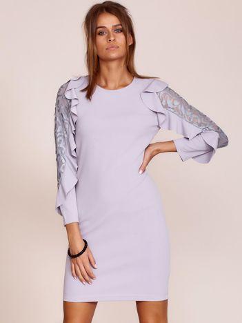 Szara sukienka z transparentnymi wstawkami na rękawach