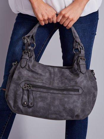 Szara torba w miejskim stylu z odpinanym paskiem
