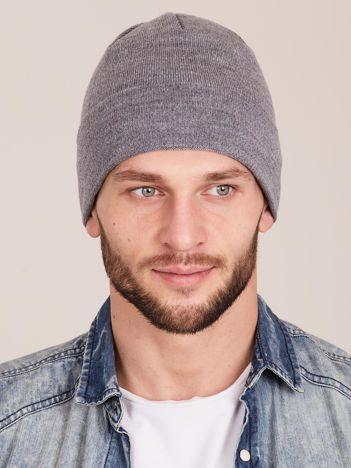 Szara wywijana czapka męska