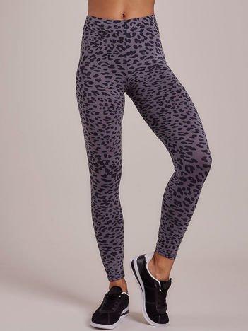 Szare długie cienkie legginsy sportowe w panterkę