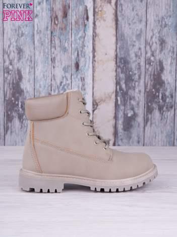 Szare jednolite buty trekkingowe damskie traperki ocieplane