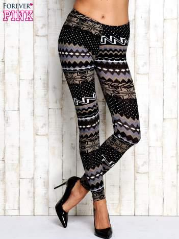 Szare legginsy w zimowy motyw