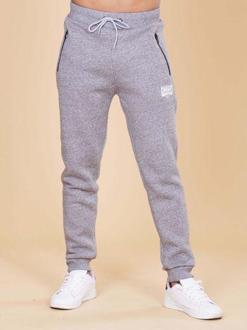Szare ocieplane spodnie dresowe męskie
