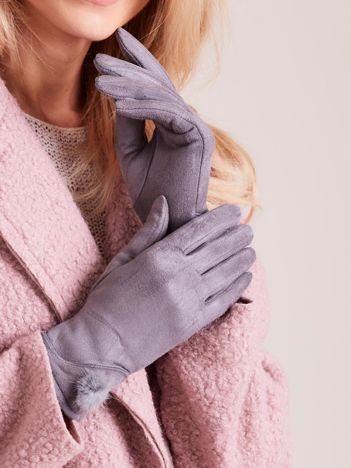 Szare rękawiczki damskie z puszkiem