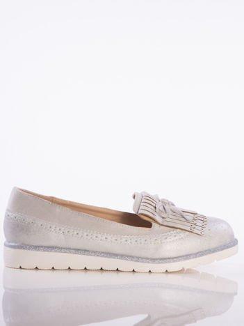 Szare skórzane lordsy z zamszową wstawką z przodu buta i ozdobną kokardką, na białej podeszwie
