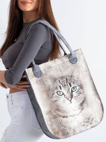 Szaro-beżowa filcowa torba z kotem