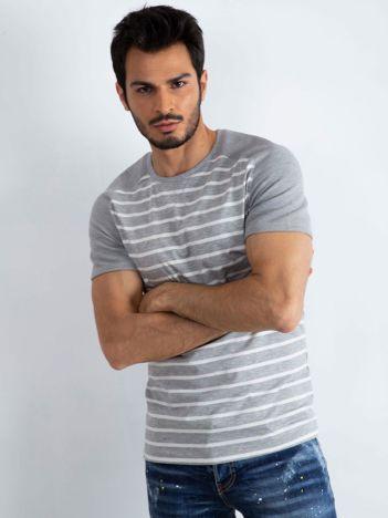 Szaro-biały t-shirt męski Prestigious