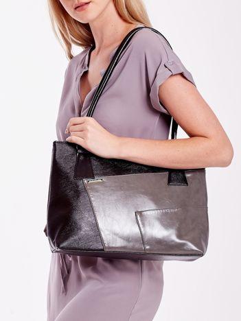 Szaro-czarna torebka damska na ramię z przeszyciami