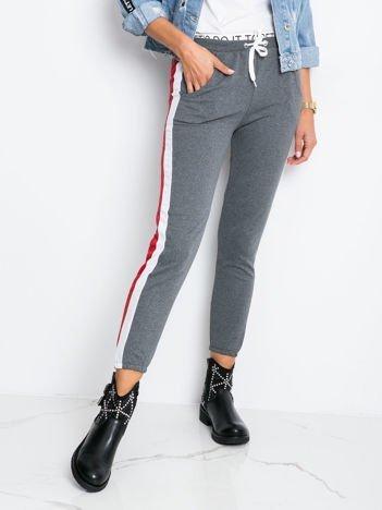 Szaro-czerwone spodnie Hidden