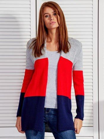 Szaro-czerwony otwarty sweter