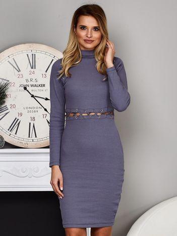 Szaro-niebieska prążkowana sukienka ze sznurowaniami