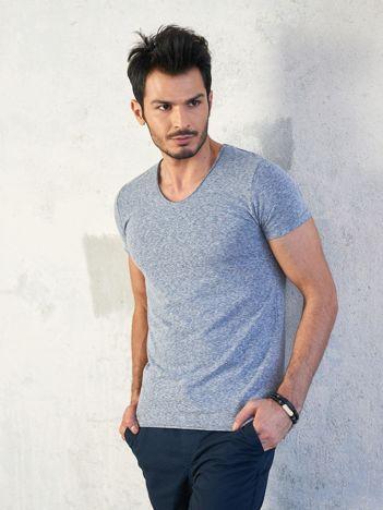 Szaro-niebieski melanżowy t-shirt męski