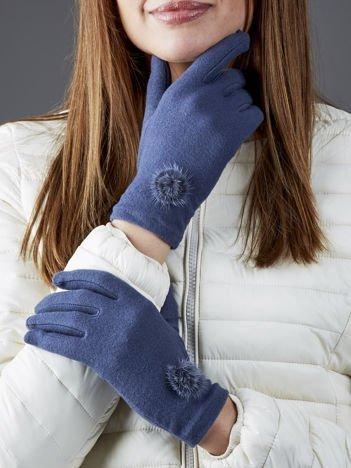 Szaro-niebieskie rękawiczki z pomponikami