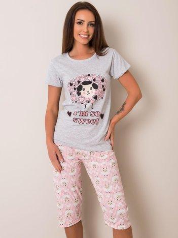 Szaro-różowa piżama bawełniana z nadrukiem