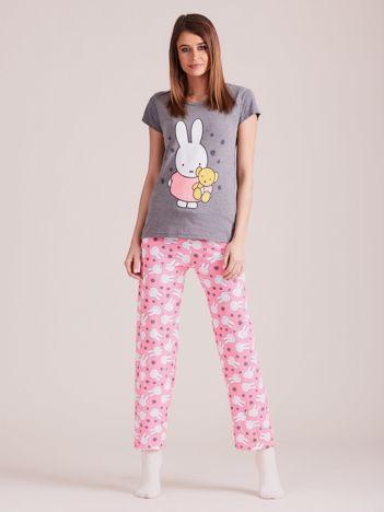 Szaro-różowa piżama dwuczęściowa w króliki