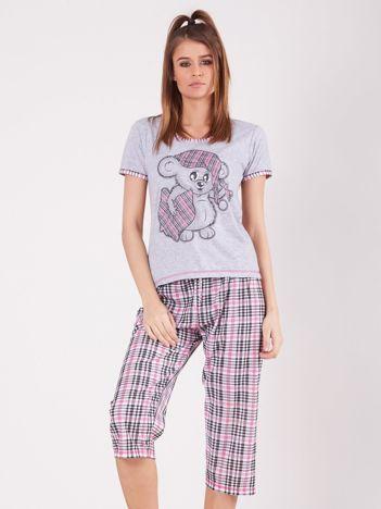 Szaro-różowa piżama w kratkę