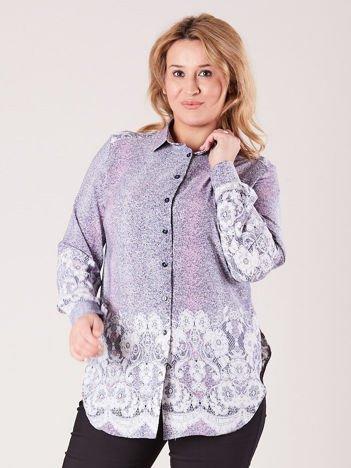 Szaro-różowa wzorzysta koszula PLUS SIZE