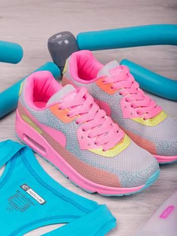 Szaro-różowe buty sportowe na poduszce powietrznej