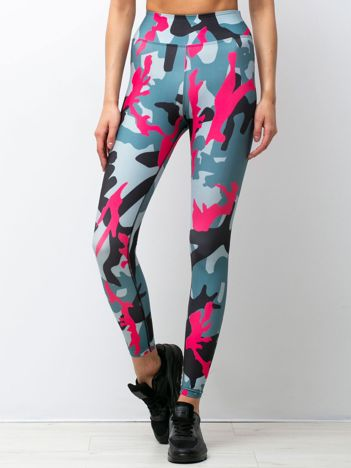 Szaro-różowe legginsy Camuflage