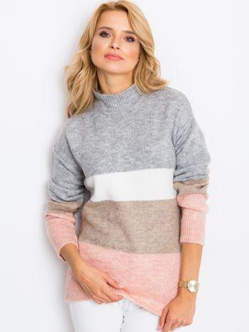 Szaro-różowy sweter Denise