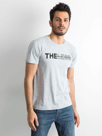 Szary bawełniany t-shirt męski z nadrukiem