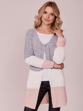 Szary damski sweter z kieszeniami