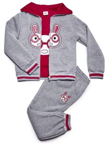 Szary komplet dla dziewczynki z króliczkiem