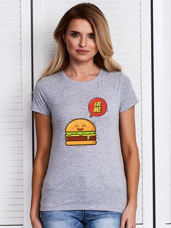 Szary t-shirt damski z burgerem