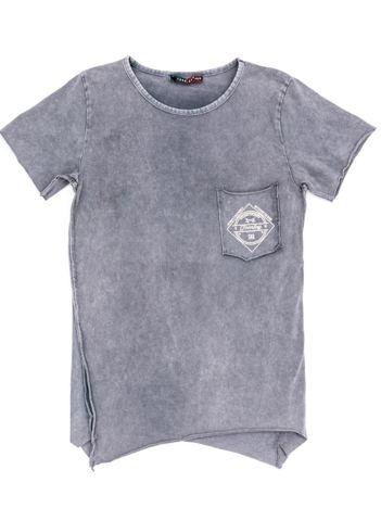 Szary t-shirt dziecięcy z surowym wykończeniem i nadrukiem z tyłu