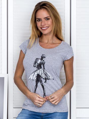 Szary t-shirt z baletnicą