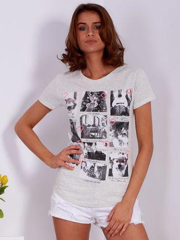 Szary t-shirt z fotograficznym nadrukiem