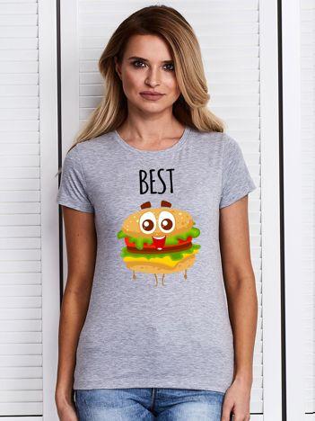 Szary t-shirt z nadrukiem burgera