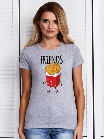 Szary t-shirt z nadrukiem frytek