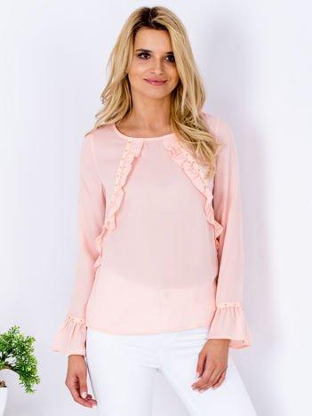 Szyfonowa bluzka z falbankami i aplikacją różowa