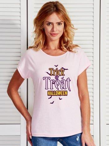 T-shirt Halloween z nadrukiem TRICK OR TREAT jasnoróżowy