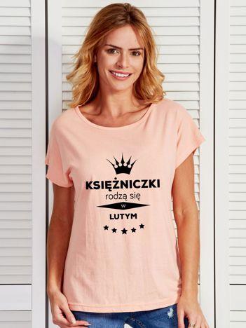 T-shirt KSIĘŻNICZKI RODZĄ SIĘ W LUTYM brzoskwiniowy