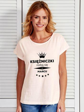 T-shirt KSIĘŻNICZKI RODZĄ SIĘ W MARCU ecru