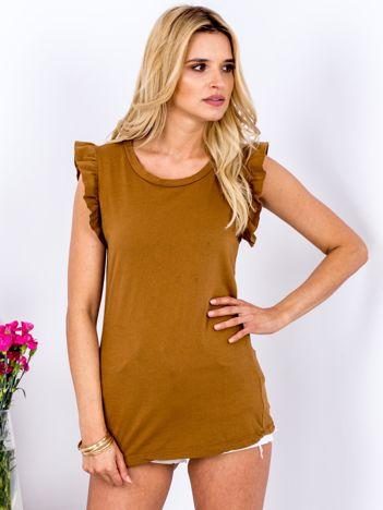 T-shirt brązowy z falbankami