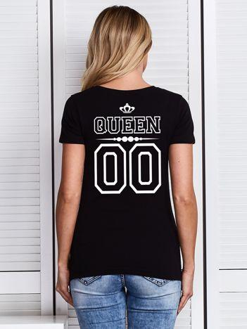 T-shirt czarny damski dla par z nadrukiem QUEEN z tyłu