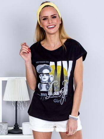 T-shirt czarny z miejskim printem