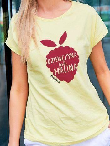 T-shirt damski DZIEWCZYNA JAK MALINA żółty