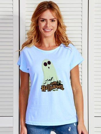 T-shirt damski Halloween z nadrukiem ducha niebieski