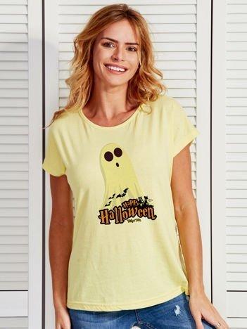 T-shirt damski Halloween z nadrukiem ducha żółty