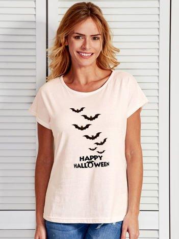 T-shirt damski Happy Halloween z nietoperzami ecru