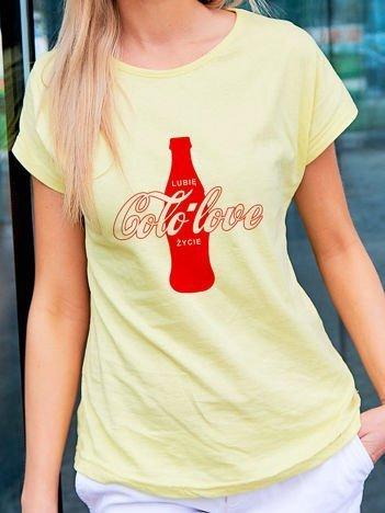 T-shirt damski LUBIĘ COLO LOVE ŻYCIE żółty
